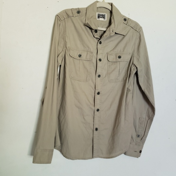 Converse Other - Converse Mens Shirt Khaki Button Up Large